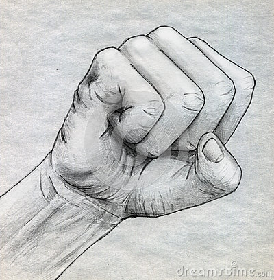 Pencil drawn clinched fist