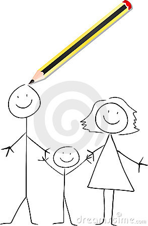 A pencil draws a family