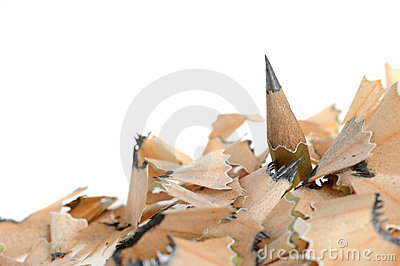 Pencil in an environment shavings