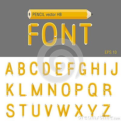 Pencil Font vector. Creative type design. Educatio