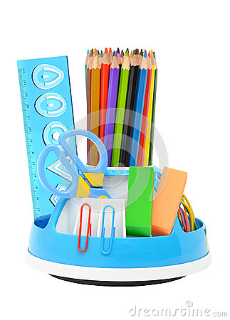 Free Pencil Holder With Rule, Scissors And Erasers Stock Photo - 26381760