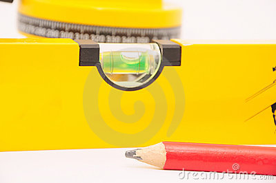Pencil with a laser spirit level
