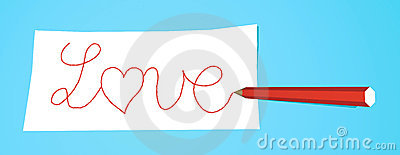 Pencil with note Love