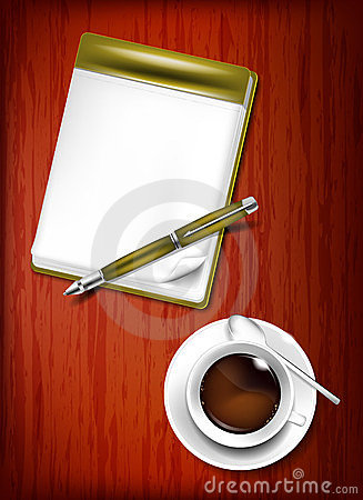 Pencil, notebook and cup of coffee