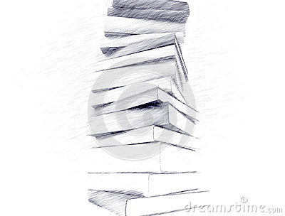 Pencil Sketch Of Books Stock Images - Image: 33581954