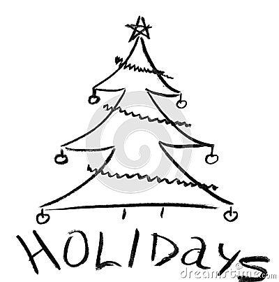 Pencil sketch of Christmas tree