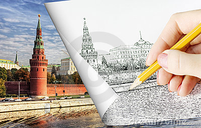 Pencil sketch depicting Moscow