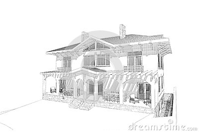 Modern House Drawing Sketch