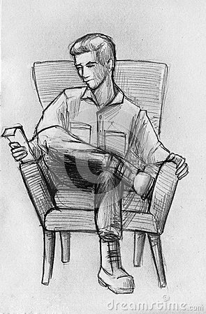 pencil sketch of a man in armchair stock illustration image 62994605. Black Bedroom Furniture Sets. Home Design Ideas