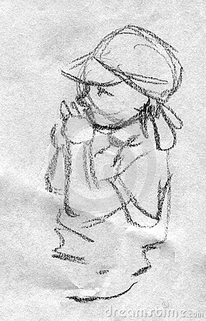 Pencil sketch of a toddler playing