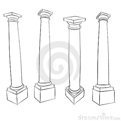 Pencil sketches of  Roman Tuscan column