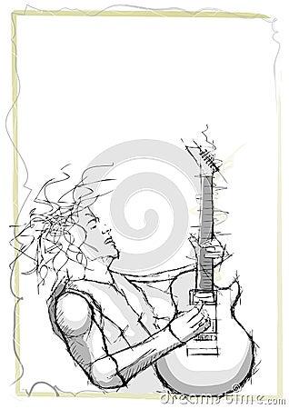 Pencil sketching of guitarist
