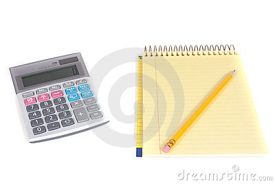 Pencil, spiral notebook and calculator