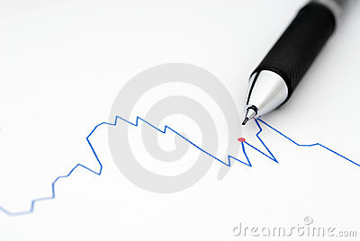 Pencil on a stock Chart