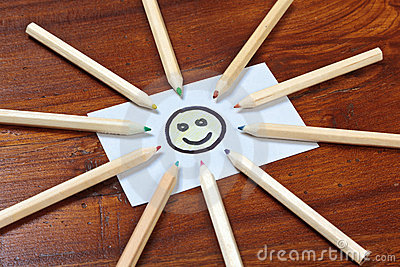 Pencil sun on wooden table
