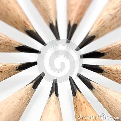 Pencil tips in a circle - macro shot
