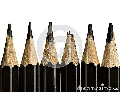 Pencil tips, one broken
