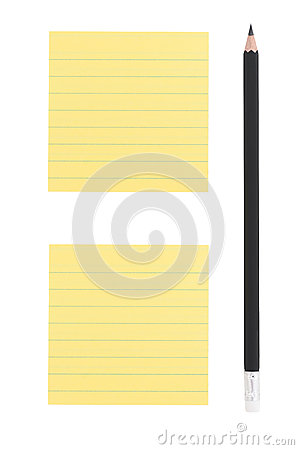 Pencil and two post-it notes on white background