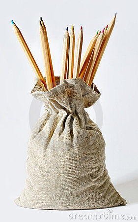 Pencils in a bag.