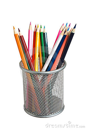 Pencils in basket