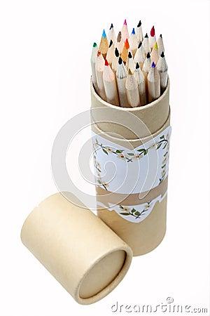 Pencils in brush pot
