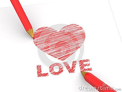 Pencils depicting the heart