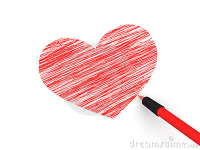 Pencils depicting the heart