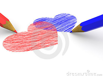 Pencils depicting the heart. 3d