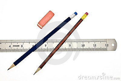 Pencils, eraser and ruler