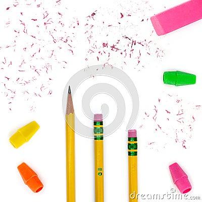 Pencils, erasers & bits