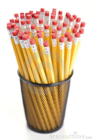 Pencils in holder.