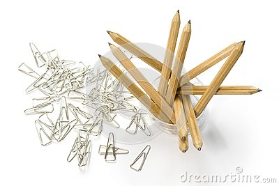 Pencils and paper clips