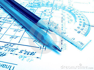 Pencils, protractor and drawings