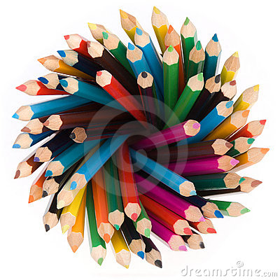Free Pencils Top View Stock Image - 12884991