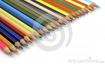 Pencils of various colors in diagonal