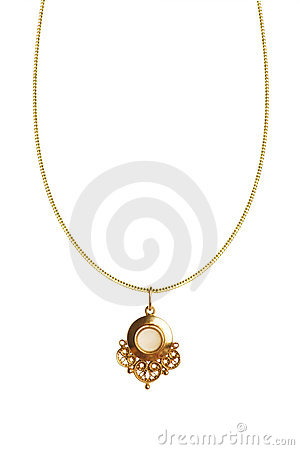 Pendant on golden chain
