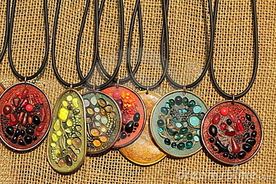 Pendants with semiprecious stones