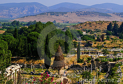 Pendio di collina di Ephesus e rovine, Turchia
