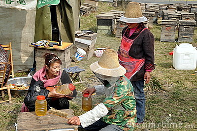 Penghou, China:  Beekeepers Selling Honey Editorial Image