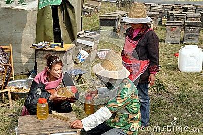 Penghou, China:  Beekeepers Selling Honey Editorial Image