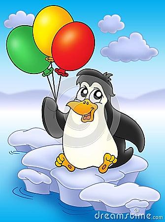 Penguin with balloons on iceberg