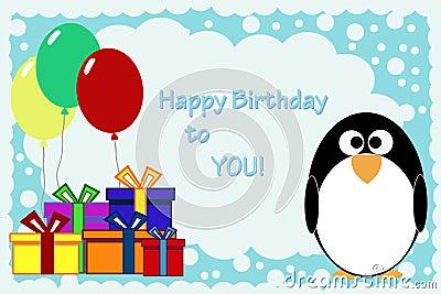 penguin birthday card bluelela dreamstime com id 181431