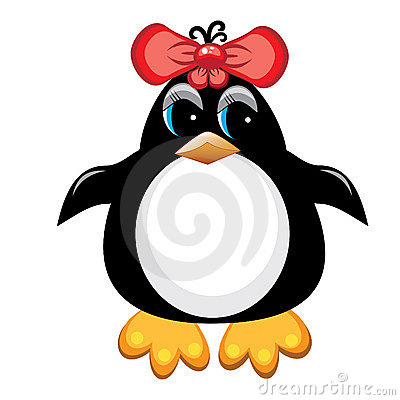Penguin cartoon bird. Girl.