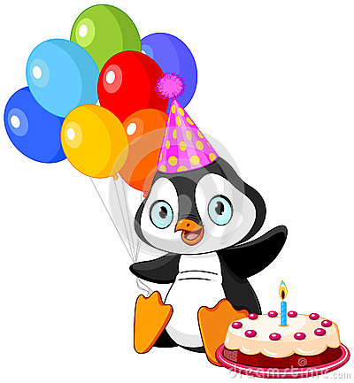 Penguin Celebrates Birthday Stock Vector Image 43211715
