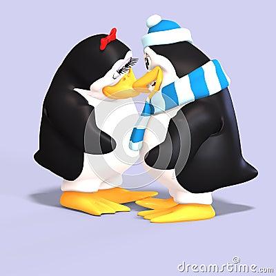 Penguin couple in love