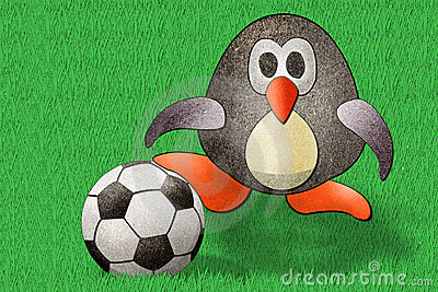 Penguin football  recycled paper