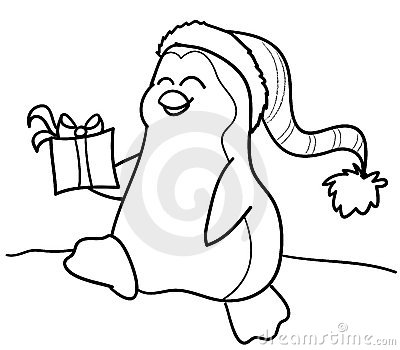 Coloring penguin with gift