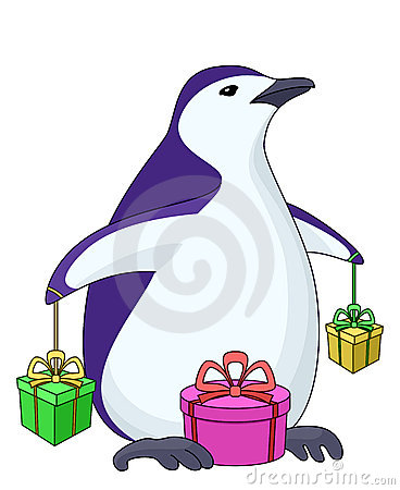Penguin with gift boxes