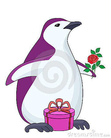 Penguin with gift and rose
