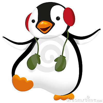 Penguin with gloves